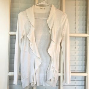 Forever21 ruffle front cardigan women small cream